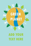 Green planet with people, trees and wind power Royalty Free Stock Photos