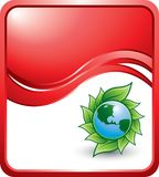 Green planet on red wave background Stock Photo
