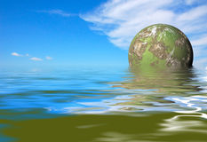 Green planet rise. Futuristic green planet rise Royalty Free Stock Photography
