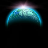 Green planet and rise sun Royalty Free Stock Images