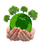 Green planet with trees in hands Royalty Free Stock Photos