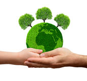 Green planet with trees in hands Royalty Free Stock Images