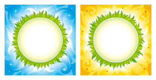 Green planet vector backgrounds. Two square backgrounds: stylized planet with green grass on decorative skies. Place for text is on planet Royalty Free Stock Image