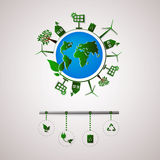 Green planet vector info graphic illustration. Ecology flat design. Ecology icons Royalty Free Stock Image