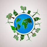 Green planet vector info graphic illustration. Ecology flat design. Stock Photos