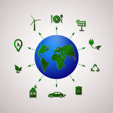 Green planet vector info graphic illustration. Ecology flat design. Stock Photography