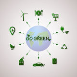 Green planet vector info graphic illustration. Ecology flat design. Stock Images