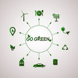 Green planet vector info graphic illustration. Ecology flat design Royalty Free Stock Photos