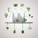 Green planet vector info graphic illustration. Ecology flat design. Stock Image