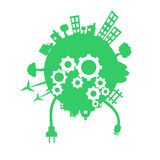 Green planet vector. Simple illustration of green planet with gears and source of energy royalty free illustration