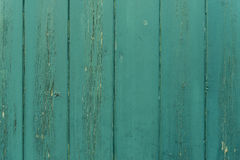 Green planks. Cracked green paint on wood timber planks texture background Royalty Free Stock Photos