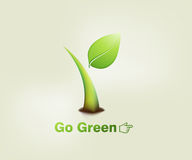 Green plant. Illustration of a green plant sprout with the words go green Royalty Free Stock Image