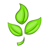 Green plant eco symbol icon, cartoon style Royalty Free Stock Image
