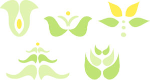 Green plant and flower icons Stock Images