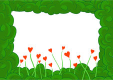 Green plant frame with hearts Royalty Free Stock Image