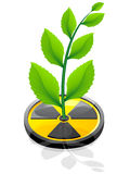 Green plant growing from a sign radiation. Illustration isolated on white background Royalty Free Stock Photography