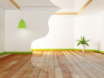 Green plant and the lamps. In the room, rendering Stock Images