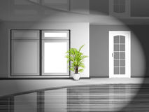 Green plant in the monochrome interior Stock Photo