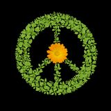 Green plant peace symbol Royalty Free Stock Photos