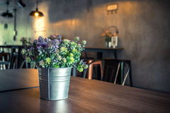 Green plant plastic in small pot Royalty Free Stock Photography