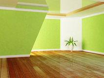 Green plant in the room. Rendering Stock Photo