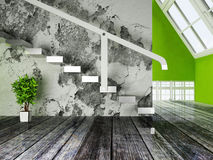 A green plant under the stairs Royalty Free Stock Photography
