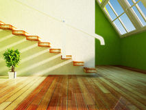 Green plant under the stairs Stock Photos