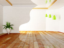 Green plantand the lamps. In the room, rendering Royalty Free Stock Image