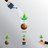 Green planting in flat hand. Green planting sprout in flat hand design illustration Royalty Free Stock Photos