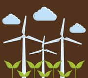 Eolic turbines design. Green plants and eolic turbines icon over brown background. colorful design. vector illustration Royalty Free Stock Images