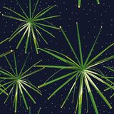 Green plants seamless night stars background Stock Images