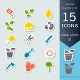 Green plants and sprout growing infographic icons set, Vector Illustrations stickers and paper cut style Stock Image