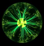 Green plasma ball. Powerful green plasma ball from above stock photo