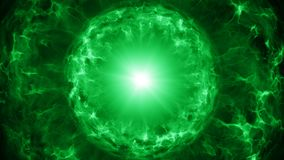 Green plasma sphere with energy charges Royalty Free Stock Image