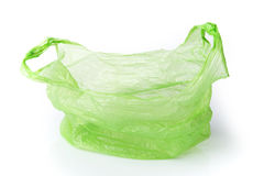 Green plastic bag isolated Royalty Free Stock Photos