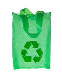 Green plastic bag with recycle symbol. Isolated over white background Stock Photo