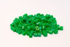 Green plastic beads. Group of green plastic beads Stock Photo