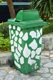 Green plastic bin Stock Photo