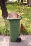 Green plastic bin Stock Photo