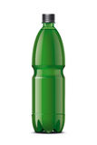 Green plastic bottle for beverages Royalty Free Stock Images