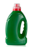 Green plastic bottle isolated on white background for liquid laundry detergent or cleaning agent or fabric softener. Green plastic bottle isolated on white Stock Images