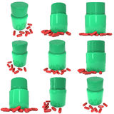 Green plastic bottle of pills. Set. 3D render illustration isolated on white background. Medical drug pharmacy care and tablet pills antibiotic pharmaceutical Stock Image