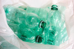 Green plastic bottle recycling. Green plastic bottles sorted for recycling Royalty Free Stock Image