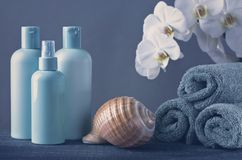Green plastic bottles, seashell and towels. On a green background royalty free stock image
