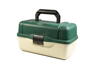 Green plastic box for fishing tackle Stock Photos