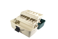 Green plastic box for fishing tackle Stock Images