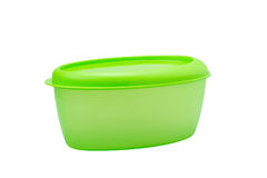 Green plastic box for food storage Royalty Free Stock Images