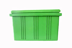 Green Plastic box Packaging of finished goods. Royalty Free Stock Photos