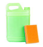 Green plastic canister with sponge Stock Image