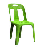 Green plastic chair isolated on white Stock Photography